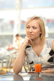 The girl in cafe Royalty Free Stock Photography