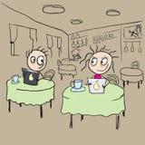 Girl in cafe flirting ogle. Vector cartoon Stock Photography