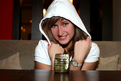 Girl in cafe with hot drink Royalty Free Stock Photos
