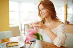 Girl in cafe Stock Image