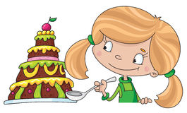 Girl and cake. Illustration of a girl and cake Stock Photography