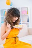 Girl with a cake Royalty Free Stock Image