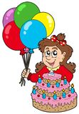 Girl with cake and balloons Royalty Free Stock Images