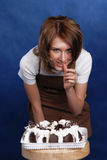 Girl and cake Royalty Free Stock Photography