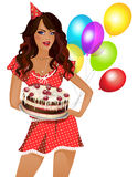 Girl with a cake. Girl in red dress holding a cake. The background is white. In the background balloons Royalty Free Stock Image