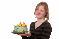 Girl with cake Royalty Free Stock Photo