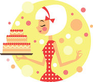 Girl with cake stock illustration