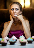 Girl with cakes Stock Photo