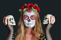 Girl with Calavera Mexicana makeup mask Royalty Free Stock Photography