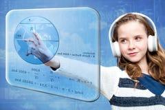 Girl calculating earth radius on digital screen Stock Photo