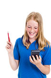 Girl and calculator Stock Photography