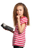 Girl with calculator. Portrait of happy girl with calculator isolated on white background Royalty Free Stock Images