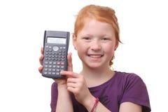 Girl with calculator Stock Photo