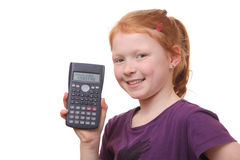 Girl with calculator Royalty Free Stock Image