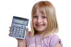Girl with Calculator Stock Photography