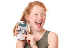 Girl with calculator Stock Images