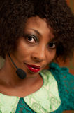 Girl in call center. African American girl in call center Royalty Free Stock Images