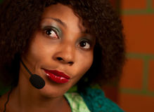 Girl in call center. African American girl in call center Stock Photos