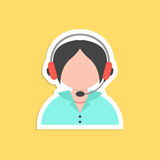 Girl call center avatar sticker. Concept of 24 hours client services, hotel reception, on-line shopping and communication. isolated on yellow background. flat Stock Image