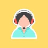 Girl call center avatar sticker Stock Image