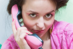 Girl call pink phone Royalty Free Stock Images