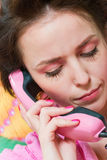 Girl call pink phone Royalty Free Stock Image