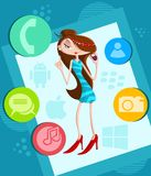 Girl on call in smartphone Royalty Free Stock Image