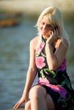 Girl calling Stock Photography