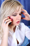 Girl calling by phone Royalty Free Stock Photo