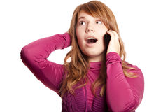 Girl calling by phone Royalty Free Stock Images