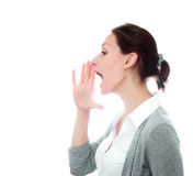 Girl calling yelling isolated white copy space Royalty Free Stock Photo
