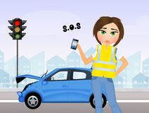 Girl calls to roadside assistance Royalty Free Stock Photo