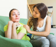 Girl calms a crying friend Royalty Free Stock Images