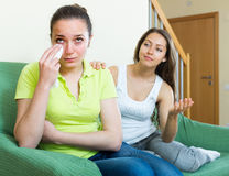 Girl calms a crying friend Royalty Free Stock Photo