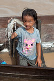 Girl of Cambodia with small crocodile Royalty Free Stock Images