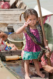 Girl of Cambodia with snake Royalty Free Stock Photos