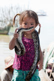 Girl of Cambodia with snake Stock Photos