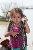 Girl of Cambodia with snake Stock Images