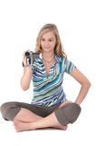 Girl with camcoder Royalty Free Stock Images
