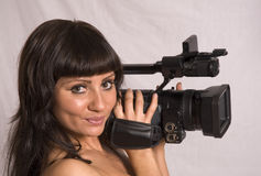 Girl with camcorder Stock Photography