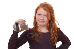 Girl with camcorder Stock Images