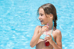 The girl came out of the pool Royalty Free Stock Photography