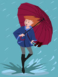 Girl came in a puddle on rainy day vector cartoon Stock Photography