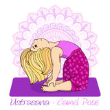 Girl in Camel Pose with mandala background. Stock Images