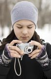 The girl with the camera Stock Images
