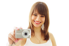 Girl with a camera Royalty Free Stock Images
