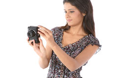 Girl with the camera Stock Image