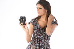 Girl with the camera Stock Images