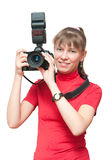 The girl with a camera Stock Image