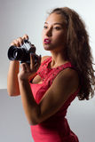 Girl with camera. Stock Image